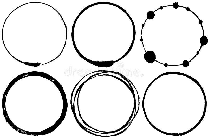 Grupo de círculos do curso da escova ilustração stock