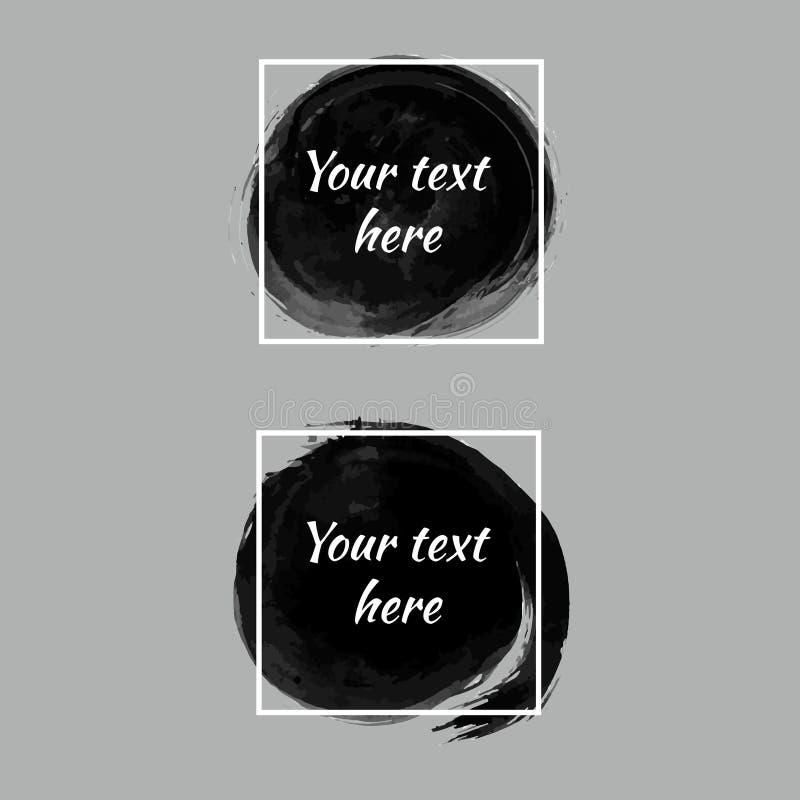 Grupo de círculos pretos da escova da tinta da pintura Bandeiras artísticas do Grunge ilustração royalty free