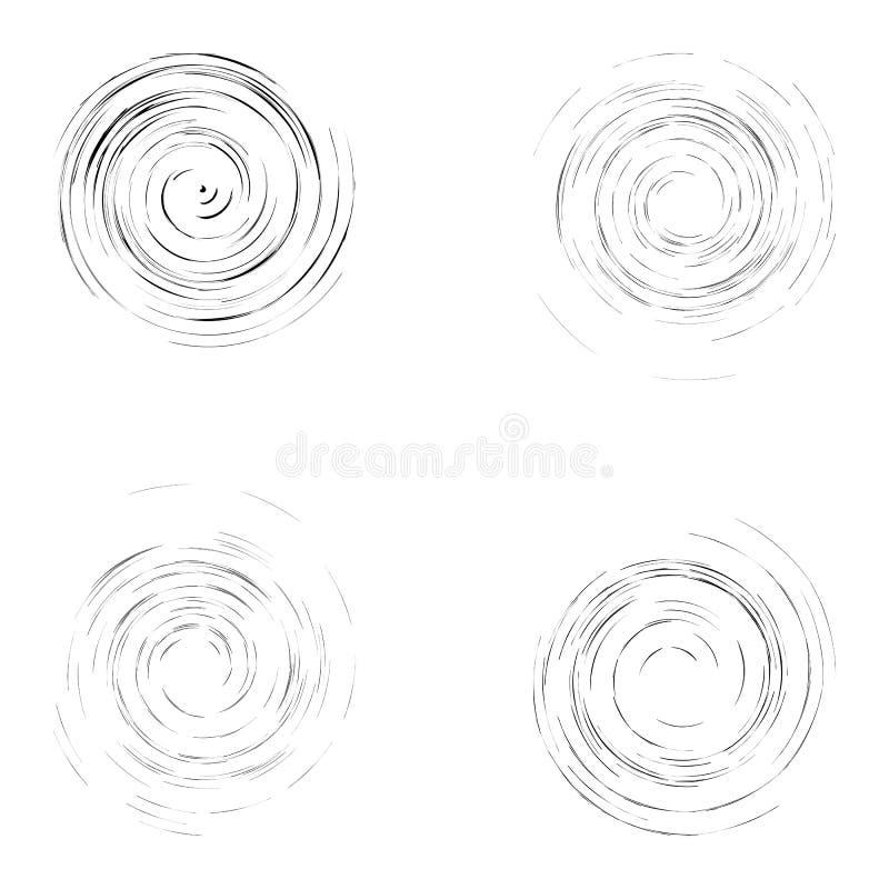 Grupo de círculos pretos isolados do giro ilustração stock