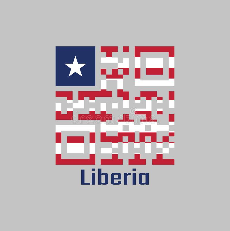 Grupo de código de QR a cor da bandeira de Libéria Alternar horizontal de onze listras vermelho e branco; no cantão, uma estrela  ilustração stock