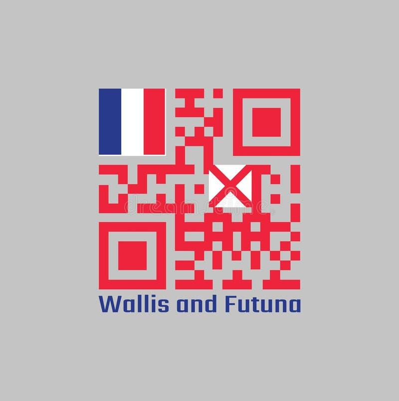 Grupo de código de QR a cor da bandeira de Wallis e de Futuna, saltire vermelho em um quadrado branco, a bandeira de França na pa ilustração stock