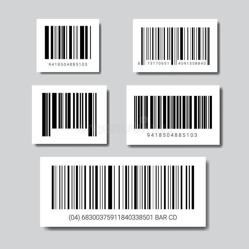 Grupo de códigos de barras da amostra para o ícone de varredura ilustração stock