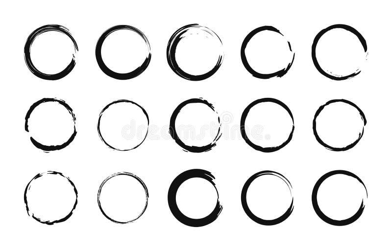 Grupo de c?rculo tirado m?o Círculo de Drawning Garatuja do garrancho Círculo da escova Ilustra??o do vetor ilustração stock