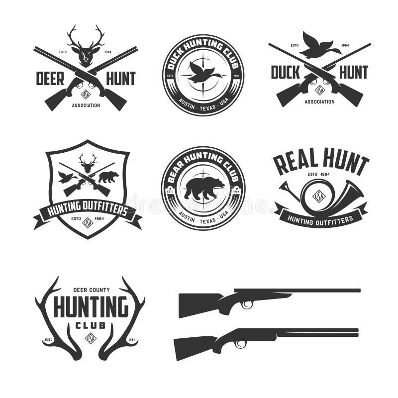 Grupo de caçar emblemas relativos dos crachás das etiquetas Ilustração do vintage do vetor ilustração stock