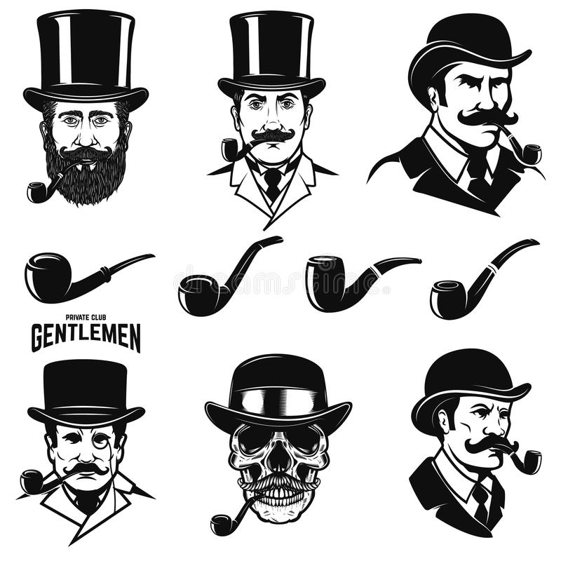 Grupo de cabeça do ` s do cavalheiro com tubulações de fumo Projete elementos para o logotipo, etiqueta, emblema, sinal ilustração royalty free