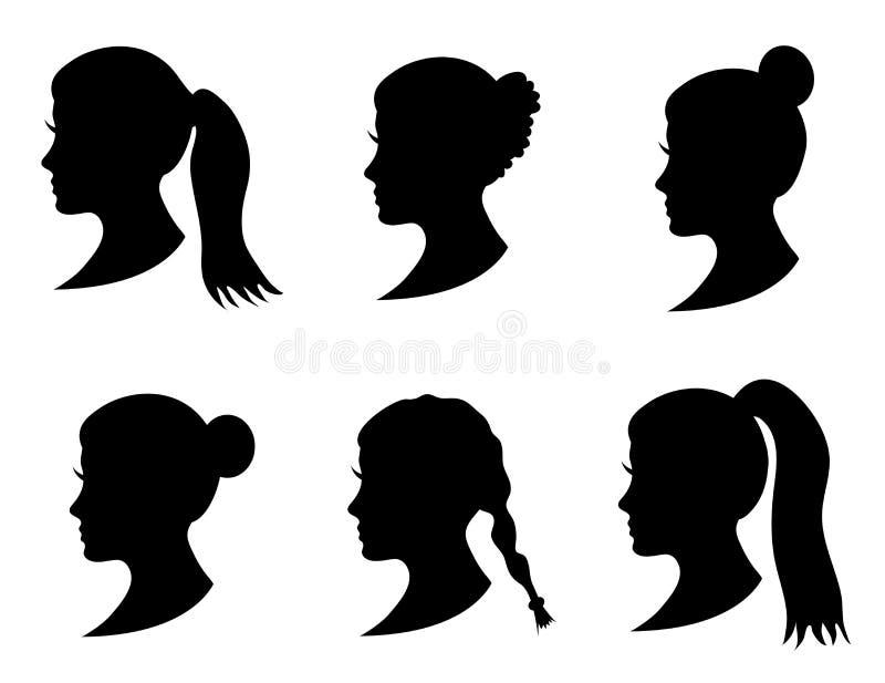 Grupo de cabeça preta da menina da silhueta com penteado diferente: cauda, rabo de cavalo, bolo, penteado da trança ilustração stock