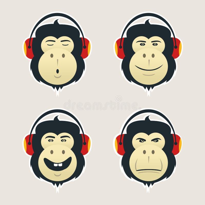 Grupo de cabeças do macaco com fones de ouvido O DJ monkey escuta música Coleção do caras emocionais Ícones de Emoji na parte tra ilustração royalty free