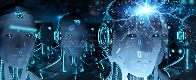 Grupo de cabezas masculinas de los robots que crean la representación digital de la conexión 3d ilustración del vector