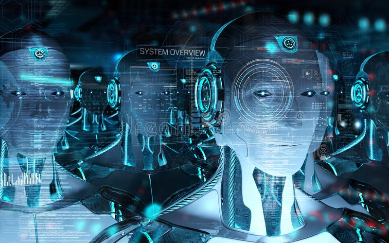 Grupo de cabezas masculinas de los robots usando la representaci?n digital de las pantallas 3d del holograma stock de ilustración