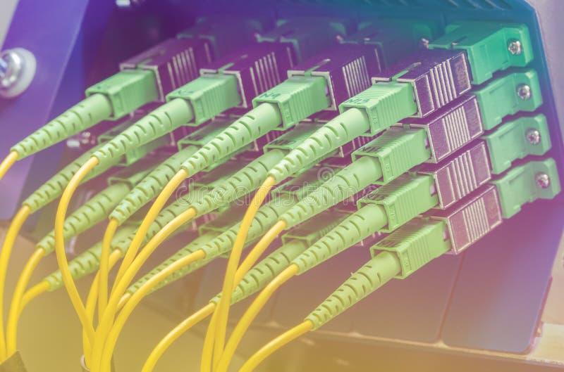 Grupo de cabos de fibra ótica verdes fotografia de stock royalty free