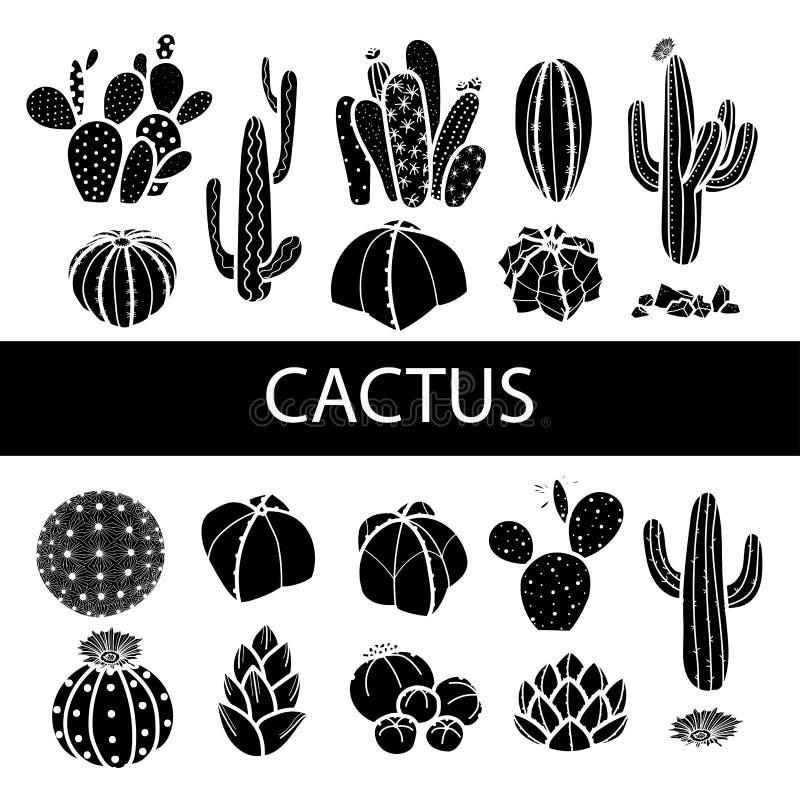 Grupo de cacto e de plantas carnudas isolados da silhueta Illustr do vetor ilustração stock