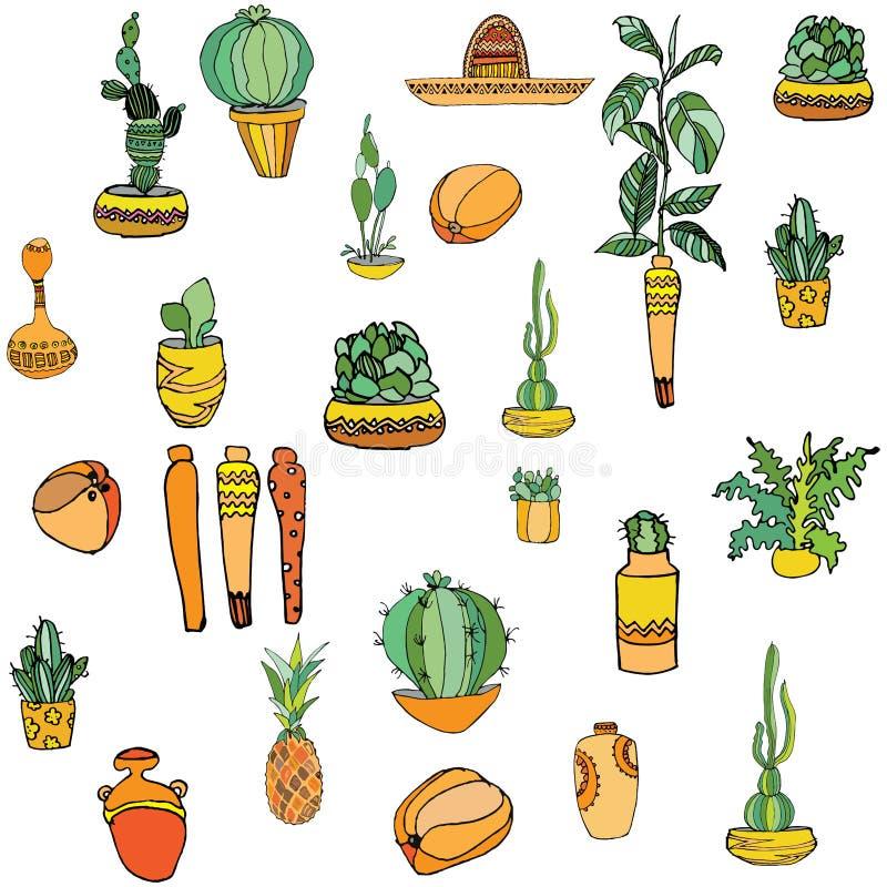 Grupo de cactos diferentes da ilustração mexicana do estilo, sombreiro, abacaxi, maraca, vasos com testes padrões nacionais ilustração do vetor