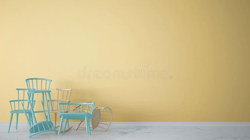 Grupo de cadeiras clássicas e rochosas escandinavas modernas azuis empilhadas acima no interior vazio contemporâneo com assoalho  ilustração royalty free