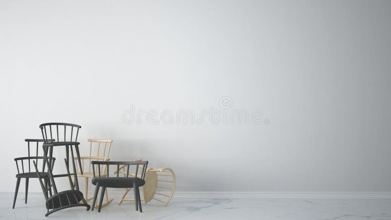 Grupo de cadeiras clássicas e rochosas escandinavas modernas cinzentas empilhadas acima no interior vazio contemporâneo com assoa ilustração stock