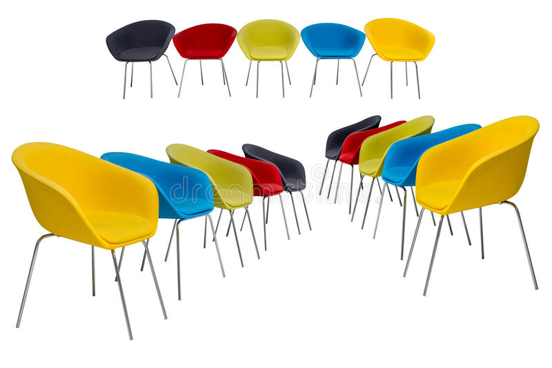Grupo de cadeiras coloridas com o estofamento da tela isolado no fundo branco fotografia de stock royalty free