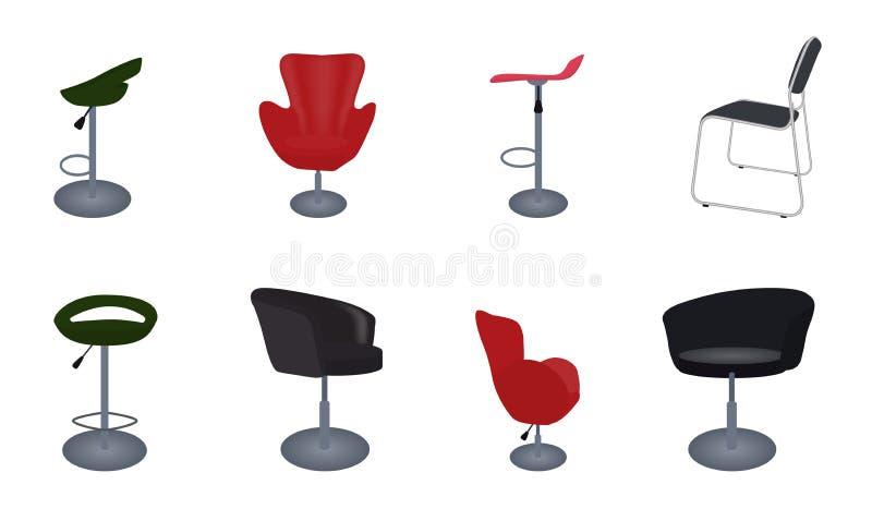 Grupo de cadeiras confortáveis e de barra da mobília moderna e antiga ilustração stock