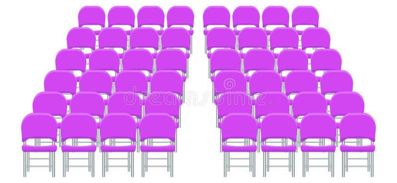 Grupo de cadeiras plásticas roxas com plano e projeto da cor sólida ilustração stock