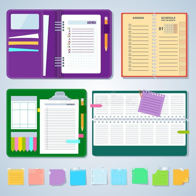 Grupo de cadernos da agenda ilustração do vetor