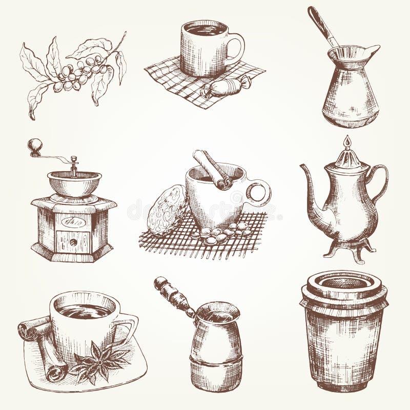 Grupo de café ilustração stock