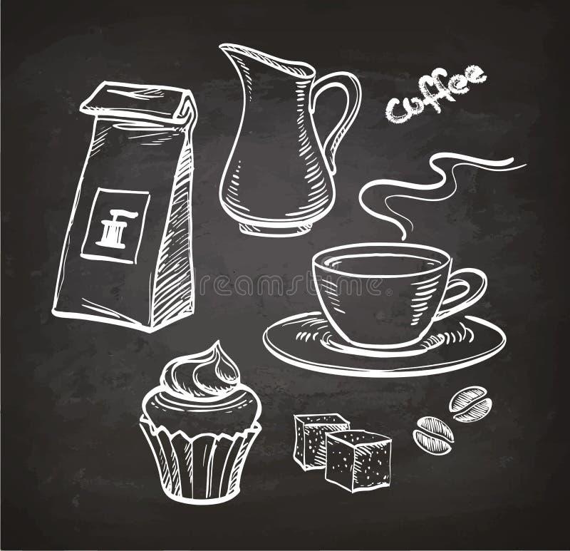 Grupo de café no quadro ilustração royalty free