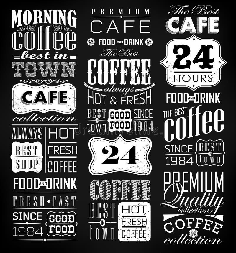 Grupo de café retro do vintage ilustração royalty free