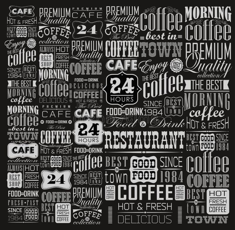 Grupo de café retro do vintage ilustração stock