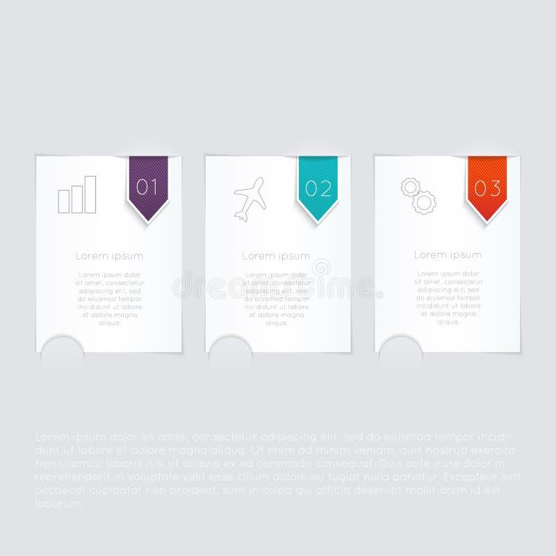 Grupo de caixa de texto colorida com etapas, cores na moda ilustração royalty free