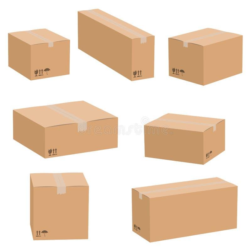 Grupo de caixas de cartão isoladas no fundo branco Caixa de empacotamento da caixa do vetor ilustração stock