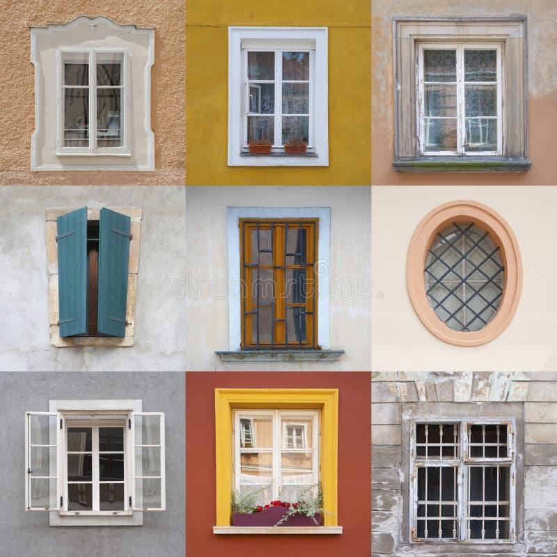 Grupo de caixas coloridas diferentes em fachadas coloridas fotos de stock royalty free
