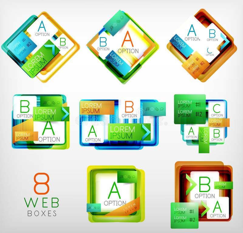 Grupo de caixas dadas forma quadrado do design web do vetor ilustração royalty free