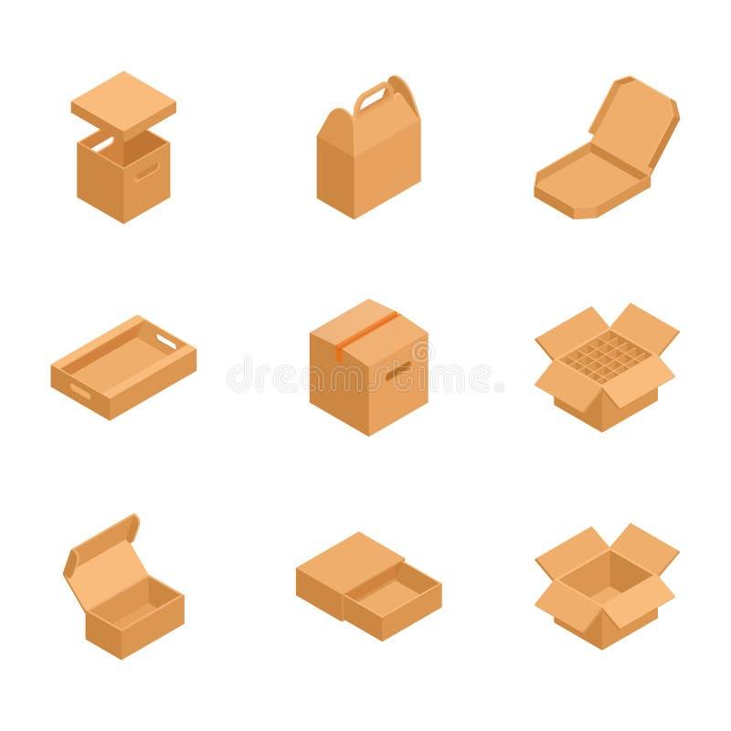Grupo de caixas de cartão isométricas ao correio enviado ilustração royalty free