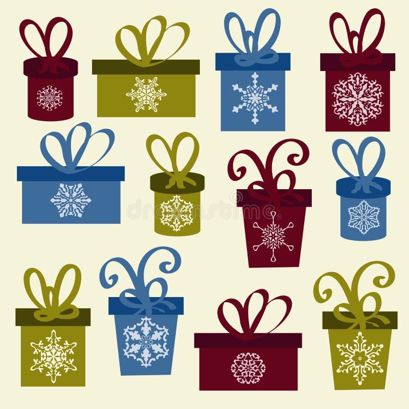 Grupo de caixas de Natal do vetor ilustração royalty free