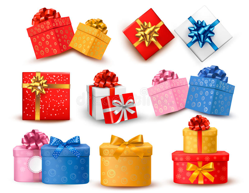 Grupo de caixas de presente coloridas com curvas e fitas.  ilustração do vetor