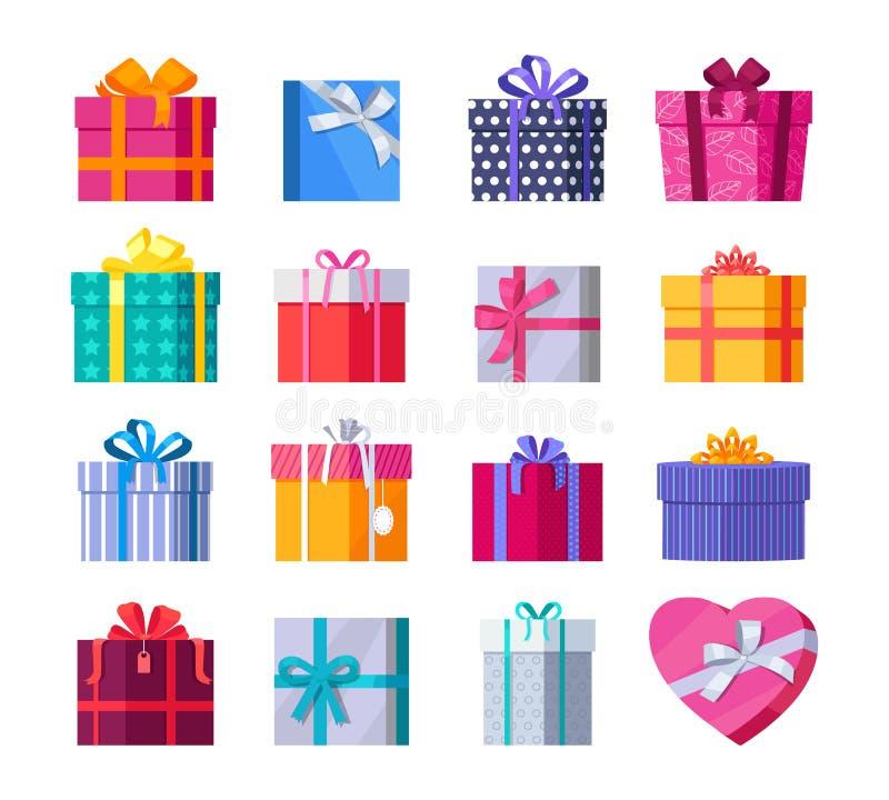 Grupo de caixas de presente coloridas com fitas e curvas ilustração royalty free
