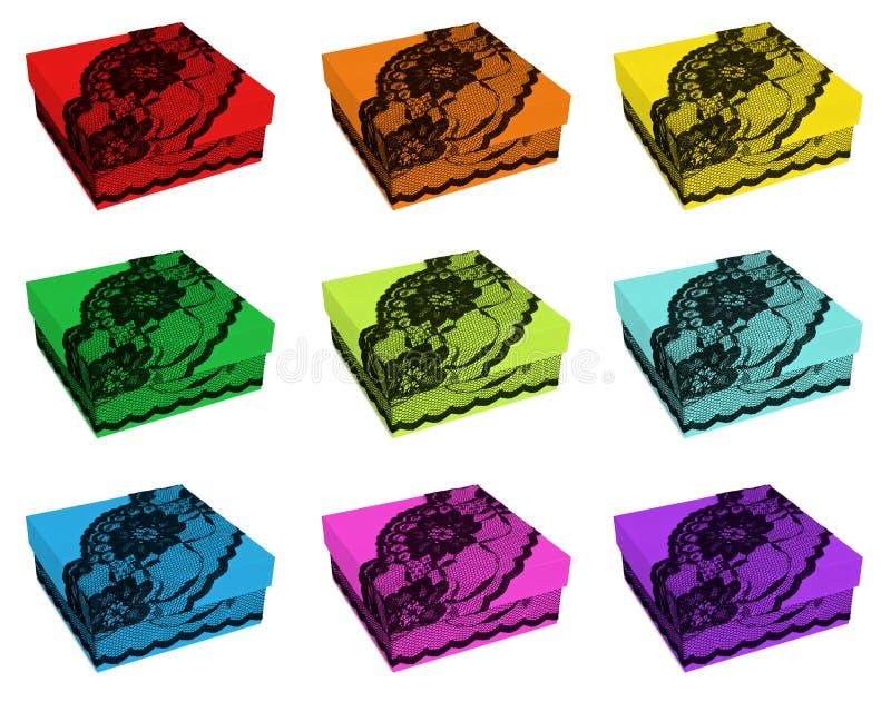 Grupo de caixas de presente da cor do arco-íris, decorado com laço preto imagens de stock