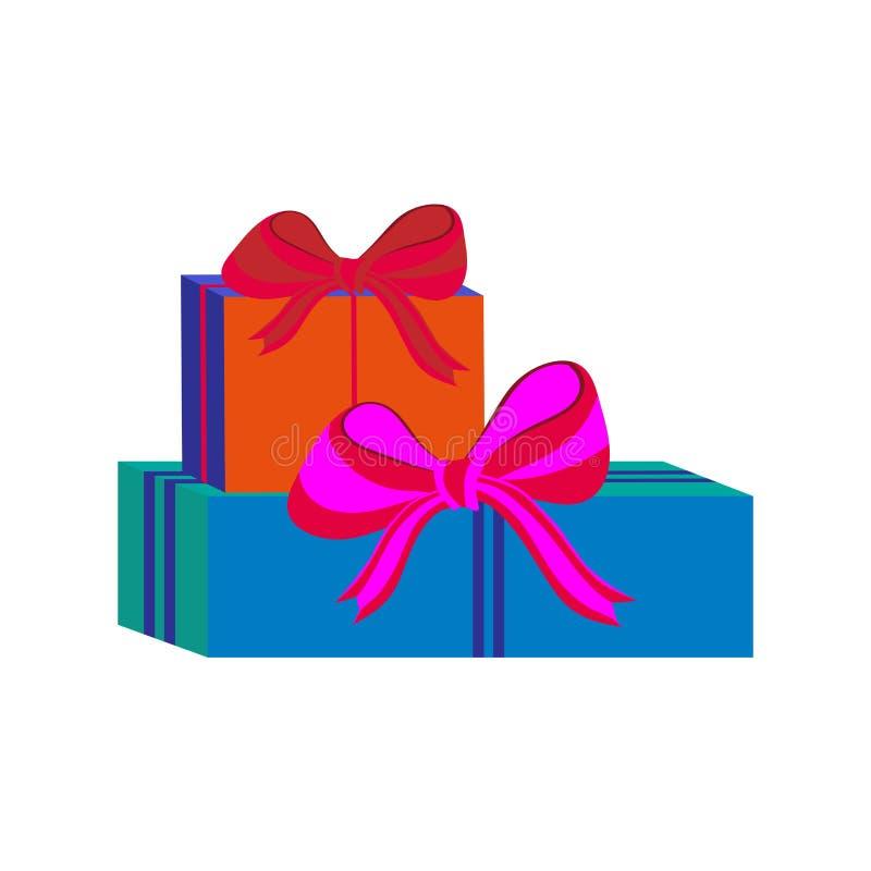 Grupo de caixas de presente envolvidas coloridas diferentes Projeto liso Presente bonito com curva Símbolo e ícone para a caixa d ilustração royalty free