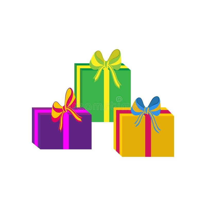 Grupo de caixas de presente envolvidas coloridas diferentes Projeto liso Presente bonito com curva Símbolo e ícone para a caixa d ilustração stock