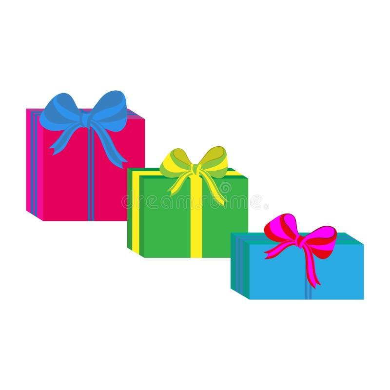 Grupo de caixas de presente envolvidas coloridas diferentes Projeto liso Presente bonito com curva Símbolo e ícone para a caixa d ilustração do vetor