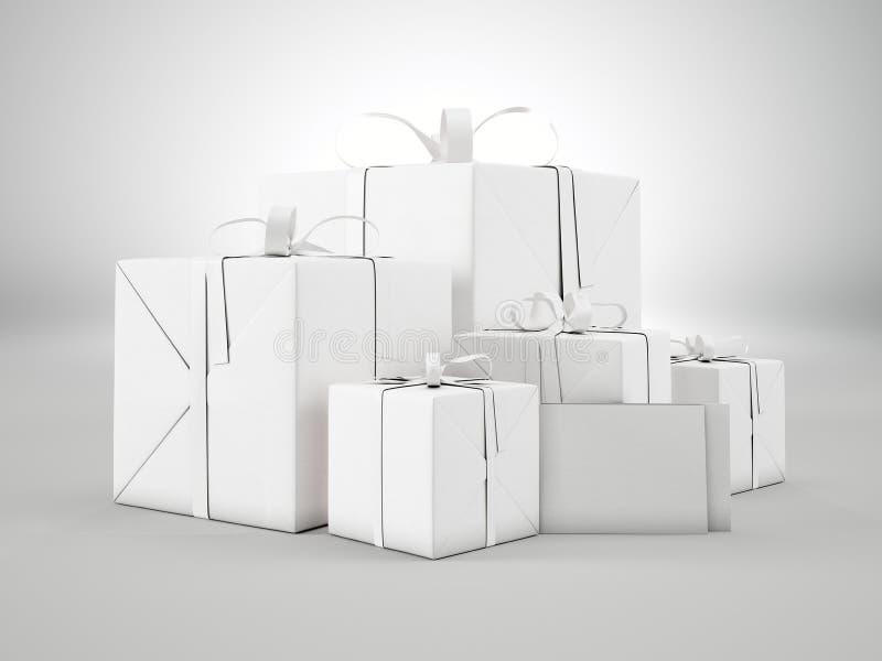 Grupo de caixas de presente vazias de vários tamanhos com curva da fita e os envelopes vazios no fundo branco 3d rendem ilustração royalty free