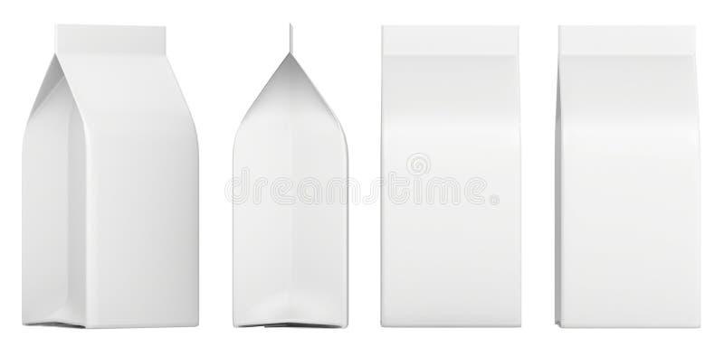 Grupo de caixas vazias Modelo do pacote de varejo Isolado no branco rendição 3d ilustração stock