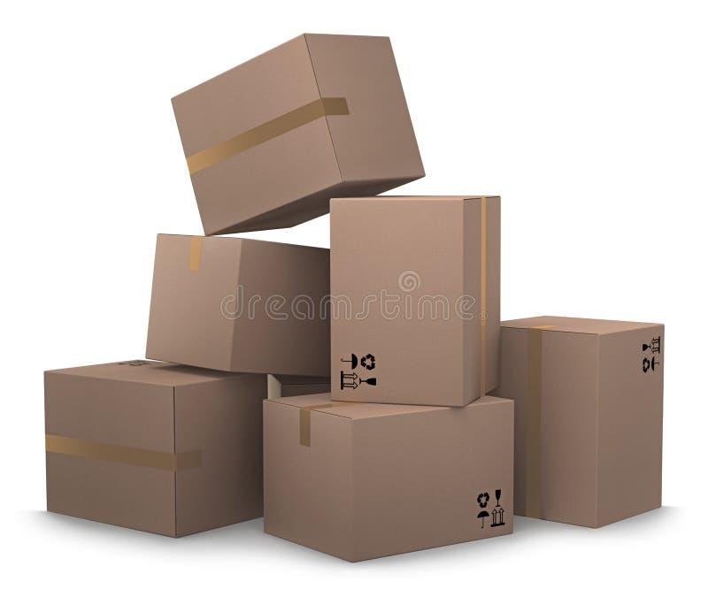 Grupo de cajas de cartón foto de archivo libre de regalías