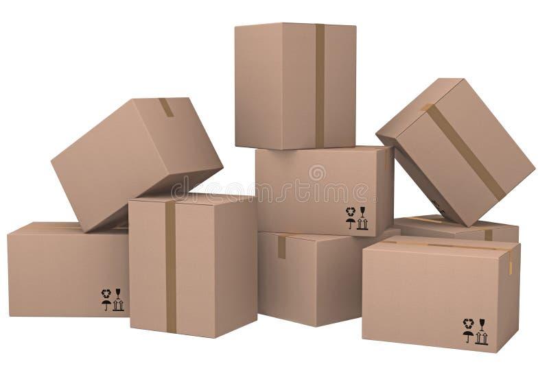 Grupo de cajas de cartón. imagenes de archivo