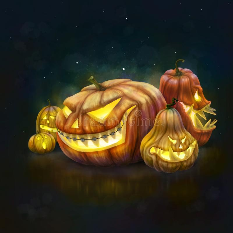 Grupo de calabazas de Halloween en backgroun oscuro de la noche stock de ilustración
