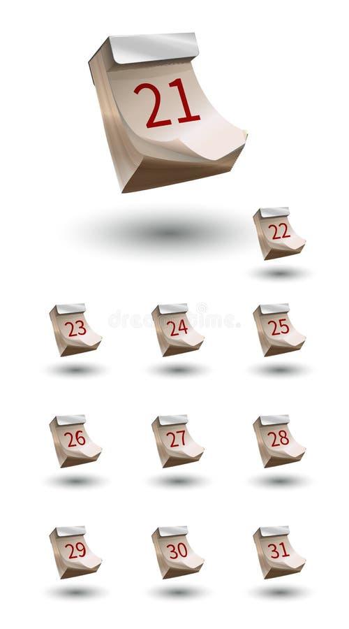 Grupo de calendário realístico do vetor com data 21-31 ilustração stock
