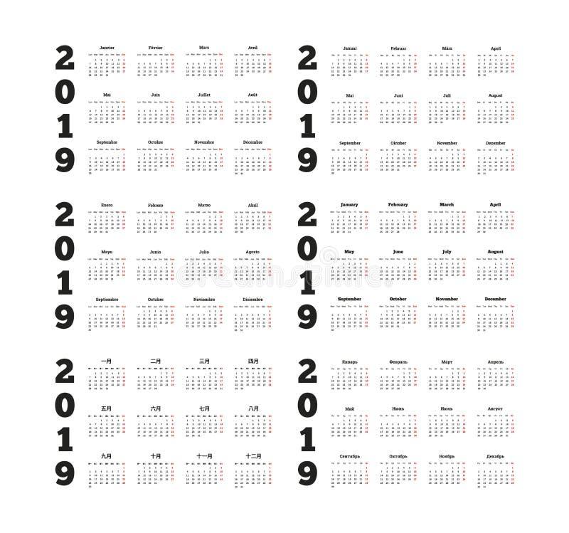 Grupo de calendários simples de 2019 anos em línguas diferentes ilustração stock