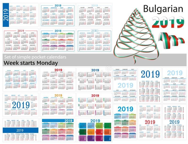 Grupo de calendários simples do bolso para 2019 dois mil dezenove A semana começa segunda-feira Tradução do búlgaro - ilustração royalty free