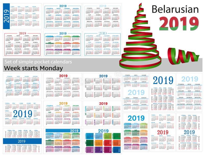 Grupo de calendários simples do bolso para 2019 dois mil dezenove A semana começa segunda-feira Tradução do bielorrusso - ilustração royalty free