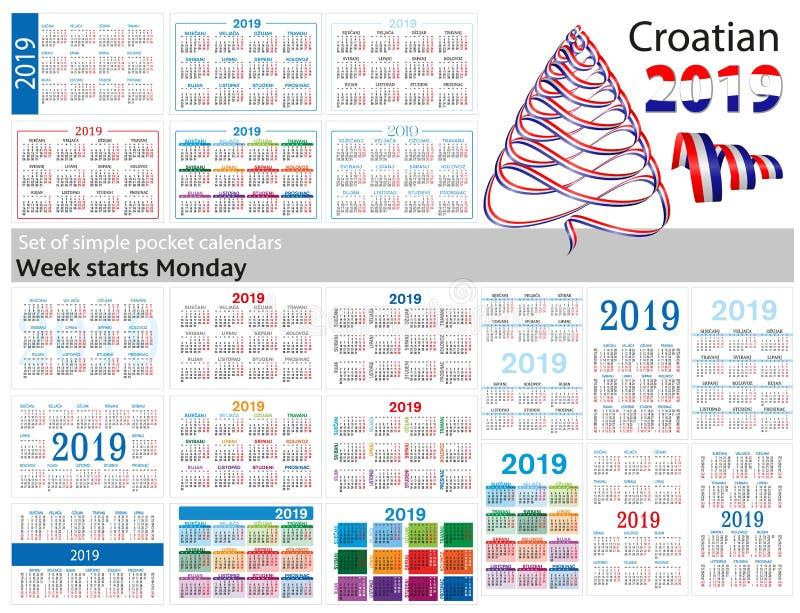 Grupo de calendários simples do bolso para 2019 dois mil dezenove A semana começa segunda-feira Tradução do croata - ilustração royalty free