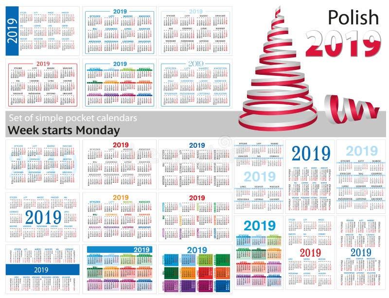 Grupo de calendários simples do bolso para 2019 dois mil dezenove A semana começa segunda-feira Tradução do polonês - ilustração royalty free