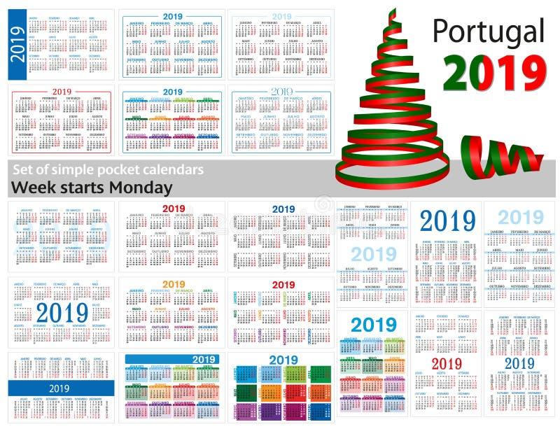 Grupo de calendários simples do bolso para 2019 dois mil dezenove A semana começa segunda-feira Tradução de Portugal - ilustração do vetor